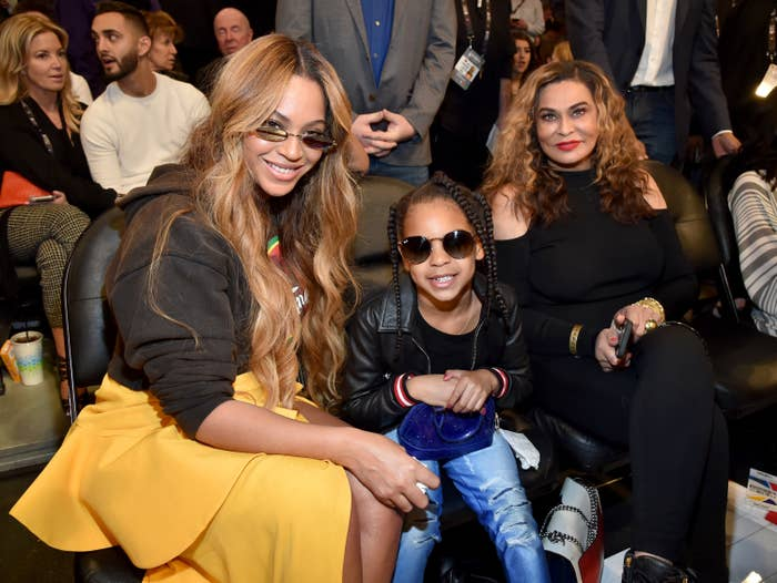 Beyonce, Blue Ivy Carter, and Tina Knowles attend the 67th NBA All-Star Game