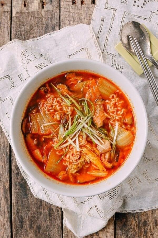 Kimchi ramen in a bowl