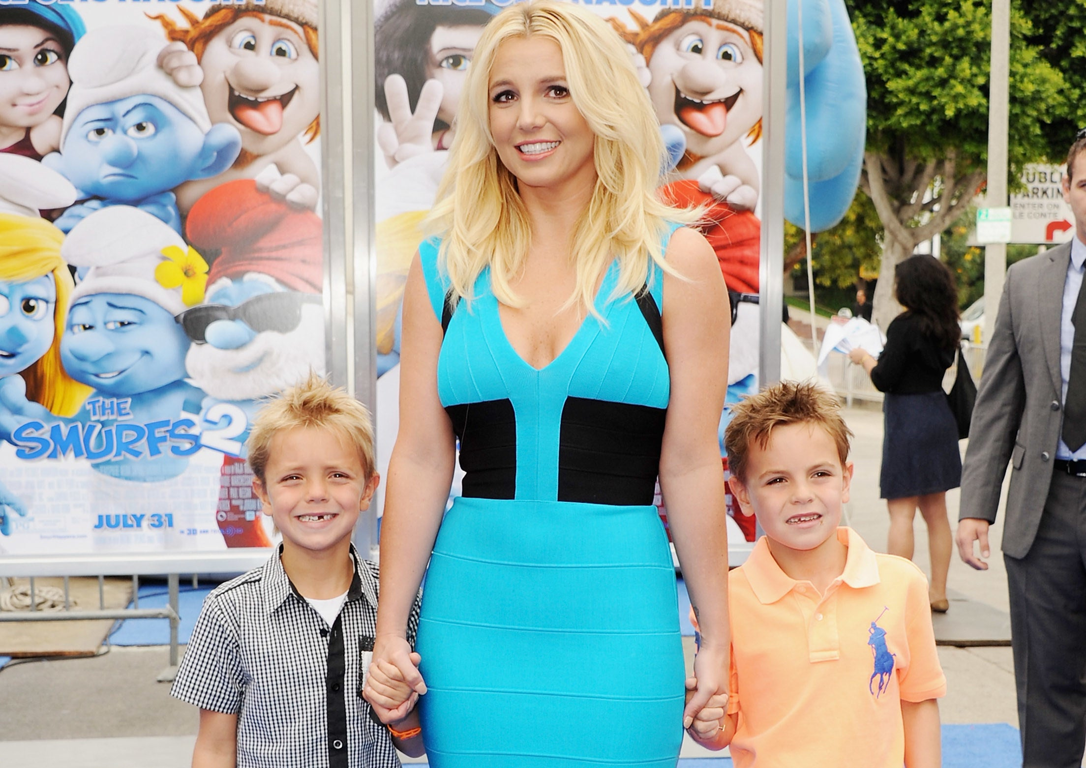 Britney poses with her boys Sean and Jayden at a movie premiere