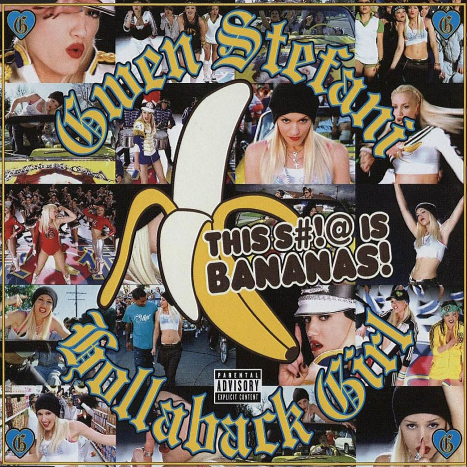 The single cover for Hollaback Girl featuring a collage of scenes from the music video for it