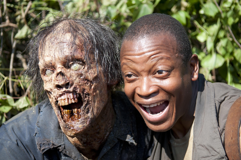 Bob Stookey posing with a zombie