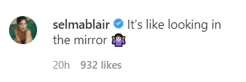 Selma Blair commented that it's like looking in the mirror [shrug emoji]
