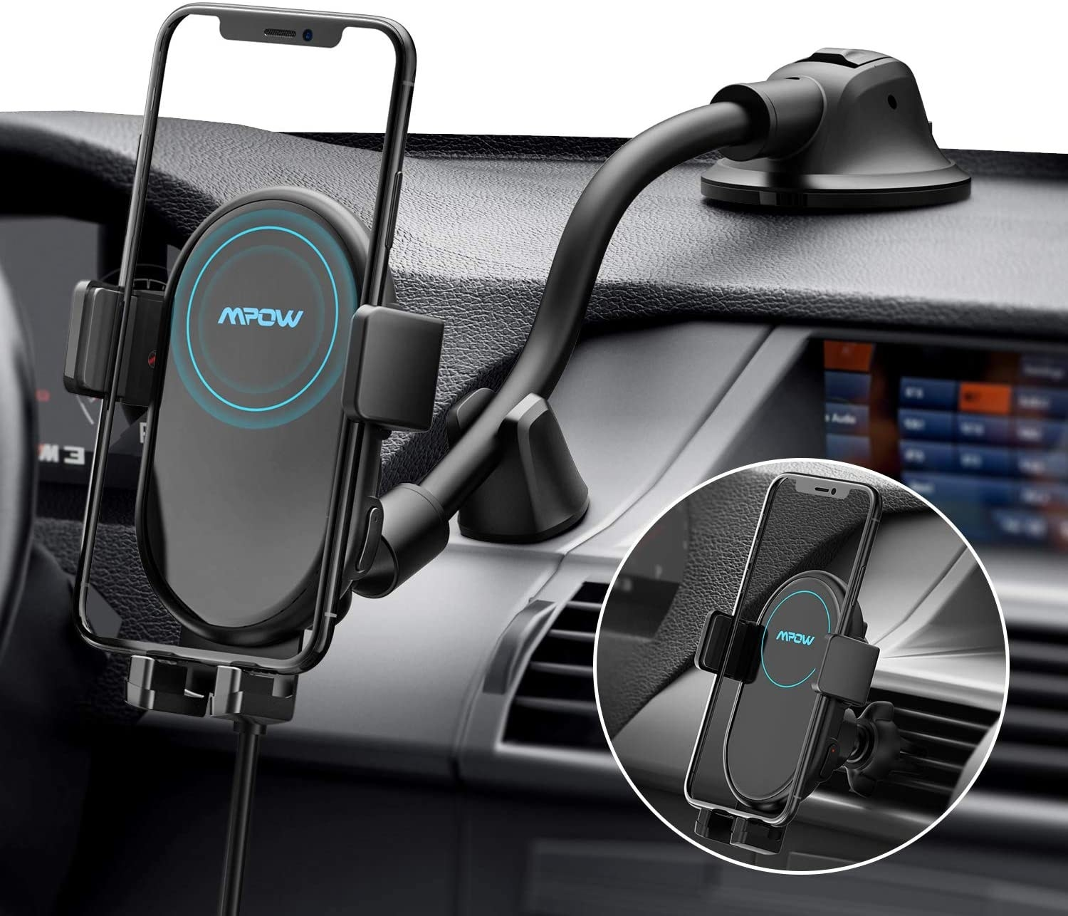 The phone charging mount on a car dash board