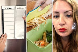 A hand ripping of a grocery list; a hand pushing food scraps into a bin; a reviewer using a pimple patch