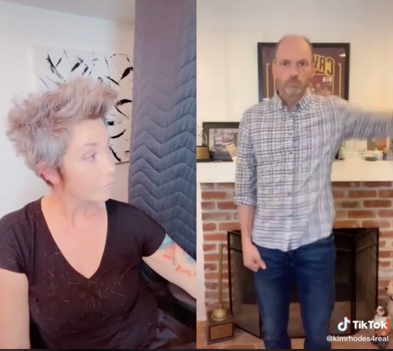 Kim Rhodes watches Brian Stepanek dance in his TikTok video