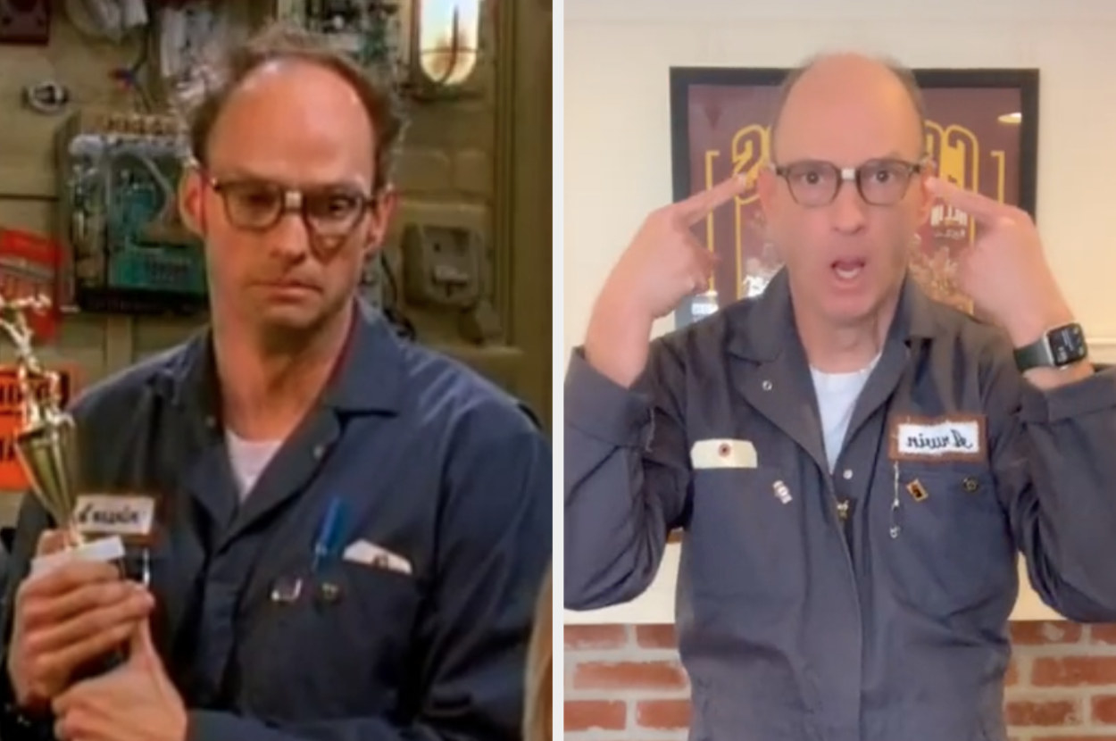 """Arwin in """"Suite Life"""" next to present-day Brian Stepanek dressed identically as his character"""