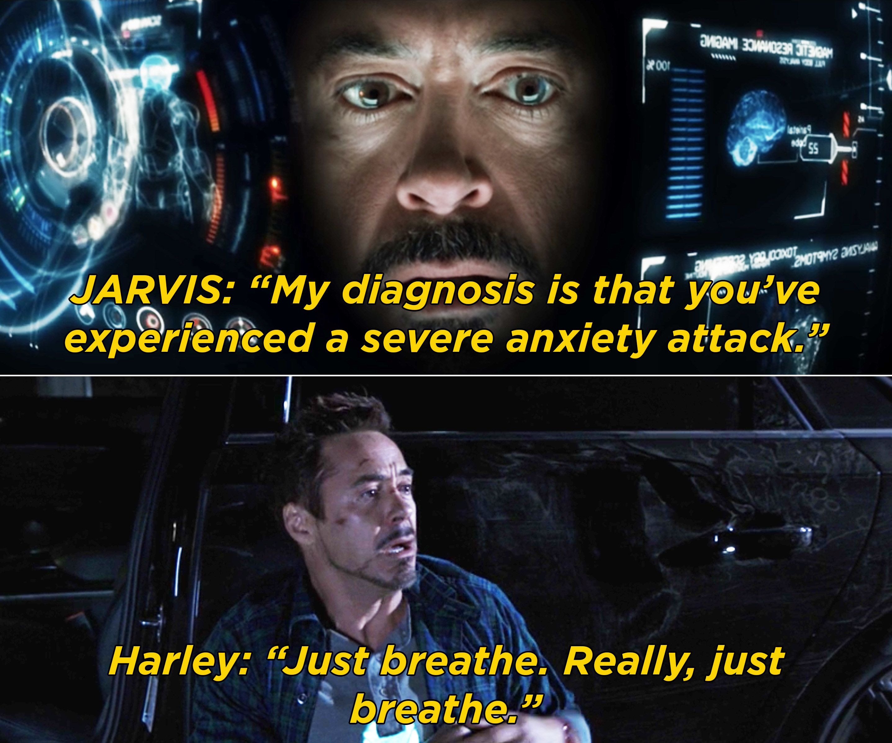 """JARVIS telling Tony that he experienced a """"severe anxiety attack"""" and then, Tony having another attack and Harley telling him to breathe"""