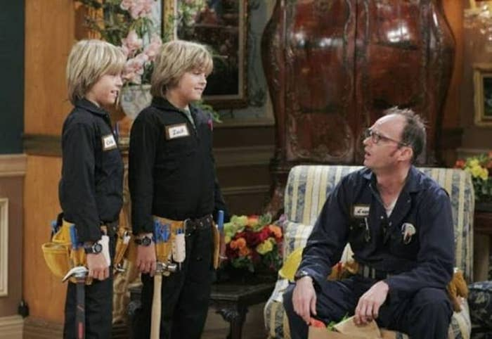 Arwin sits next to Zack and Cody, who are dressed in similar work uniforms