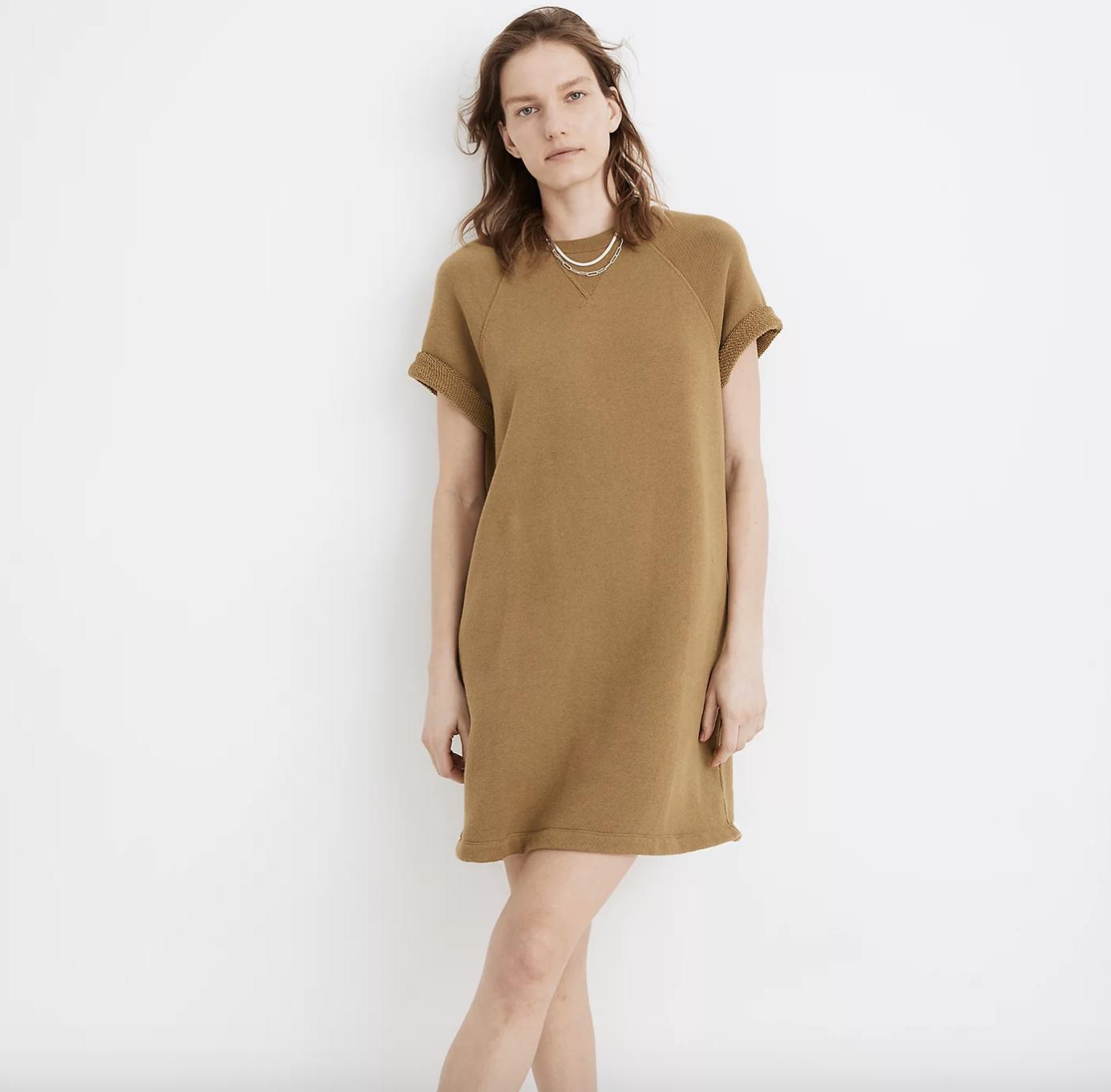 a model wearing the MWL Airyterry Sweatshirt Tee Dress in heather moss