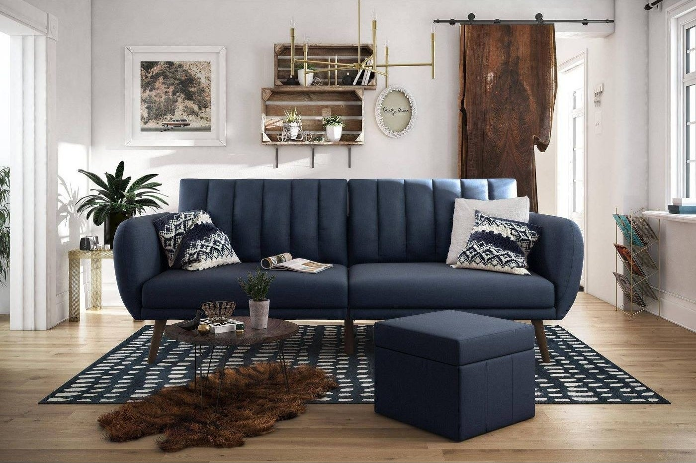 blue futon with a ribbed back cushion