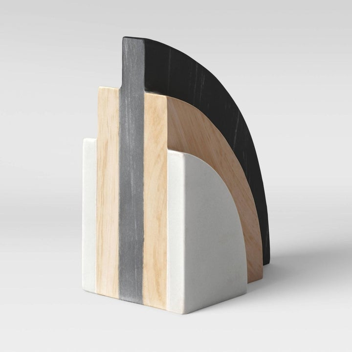 marble wood and black semi circle bookend