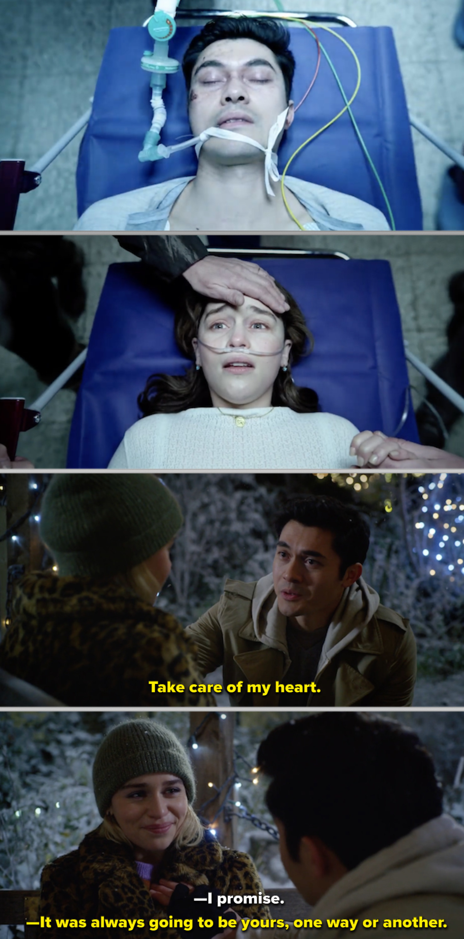 Kate and Tom in the hospital, then them at the bench together