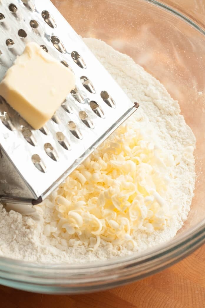 Grated butter in a bowl.