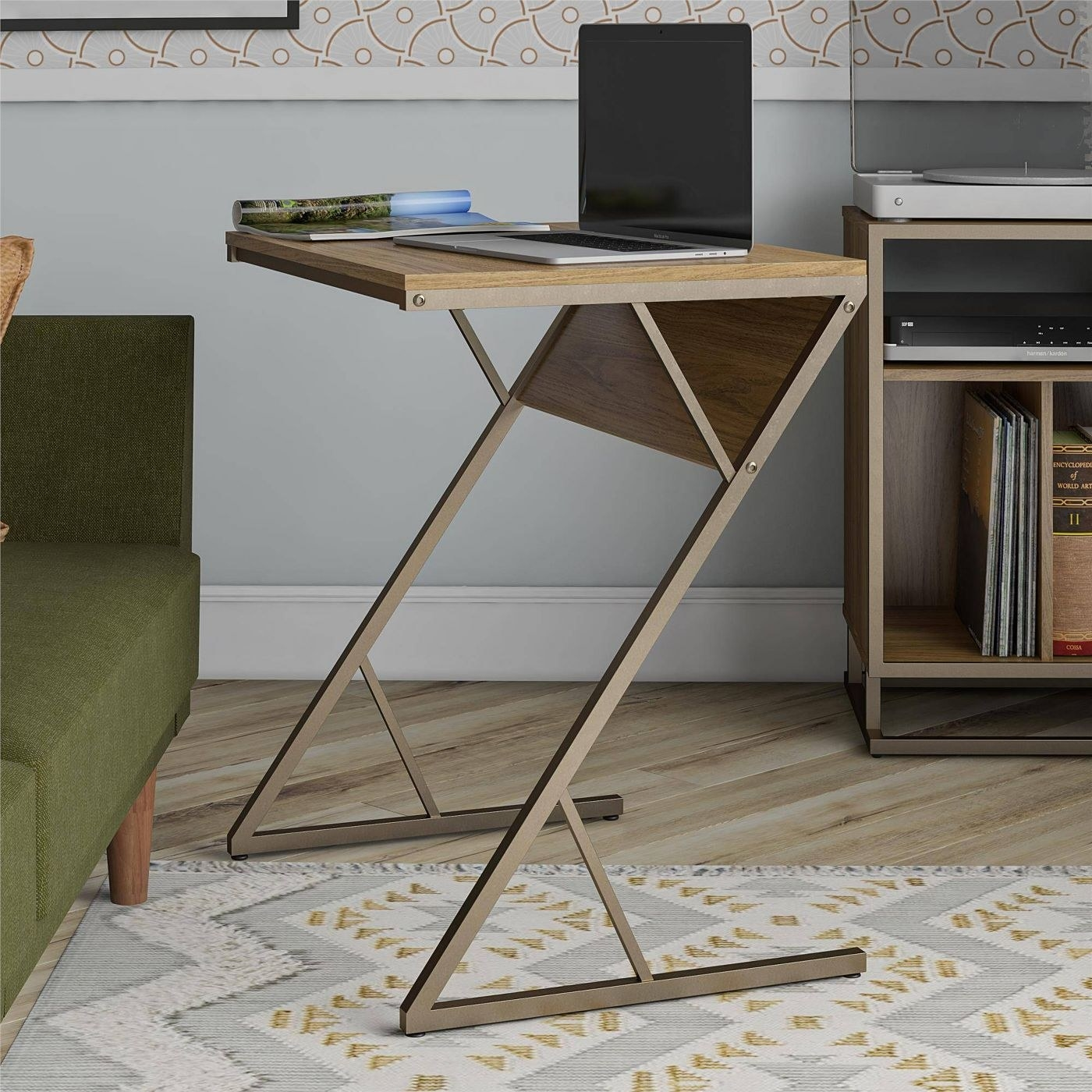 wooden laptop desk with a golden base