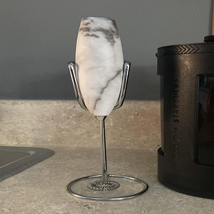 Reviewer image of the faux marble frother
