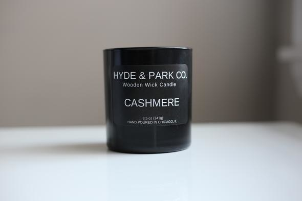 cashmere scented candle in minimalist black jar