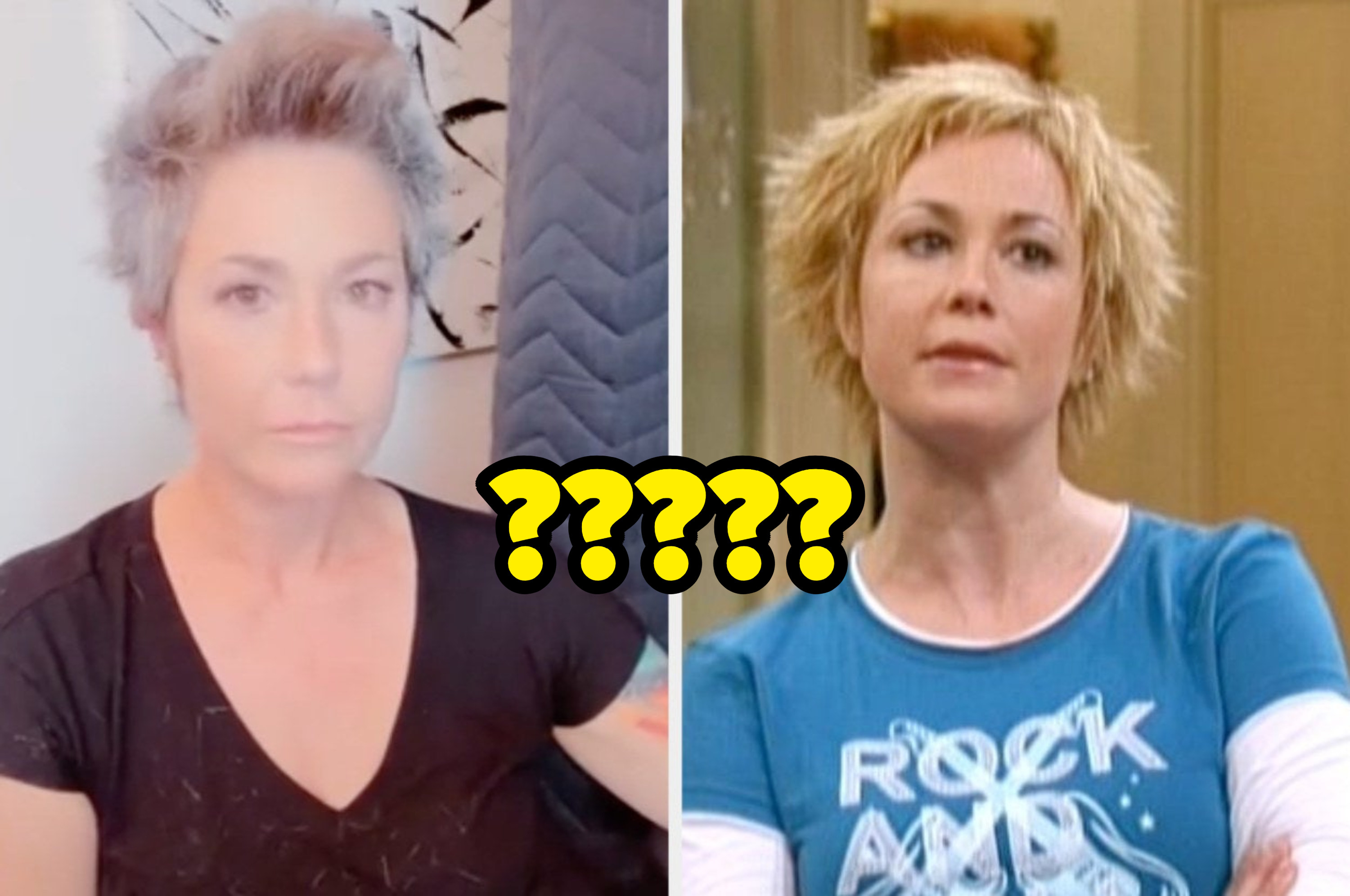 """Kim Rhodes now next to her character Carey Martin in """"Suite Life"""" captioned with a bunch of question marks"""