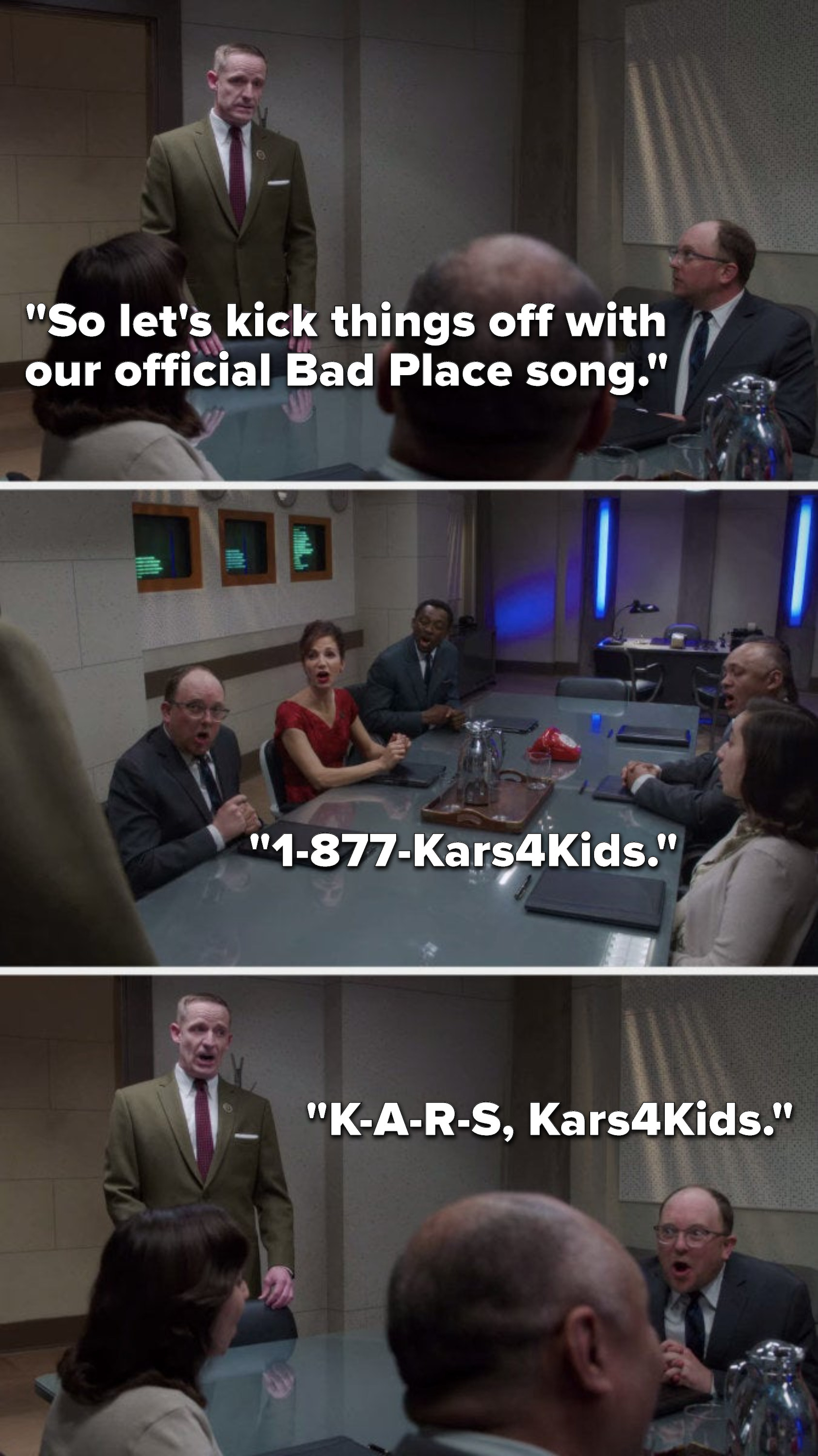 """Shawn says, """"So let's kick things off with our official Bad Place song,"""" and Shawn and all of the demons sing, """"1-877-Kars4Kids, K-A-R-S Kars4Kids"""""""