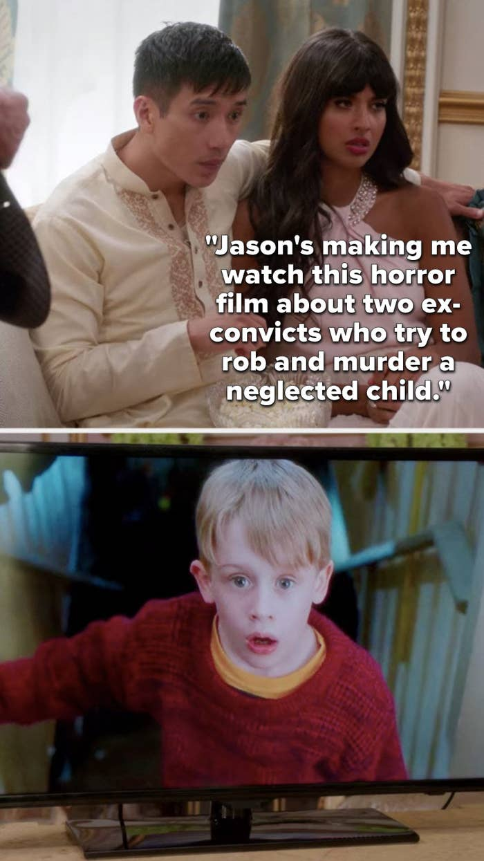 """Tahani says, """"Jason's making me watch this horror film about two ex-convicts who try to rob and murder a neglected child,"""" and we see they're watching """"Home Alone"""""""