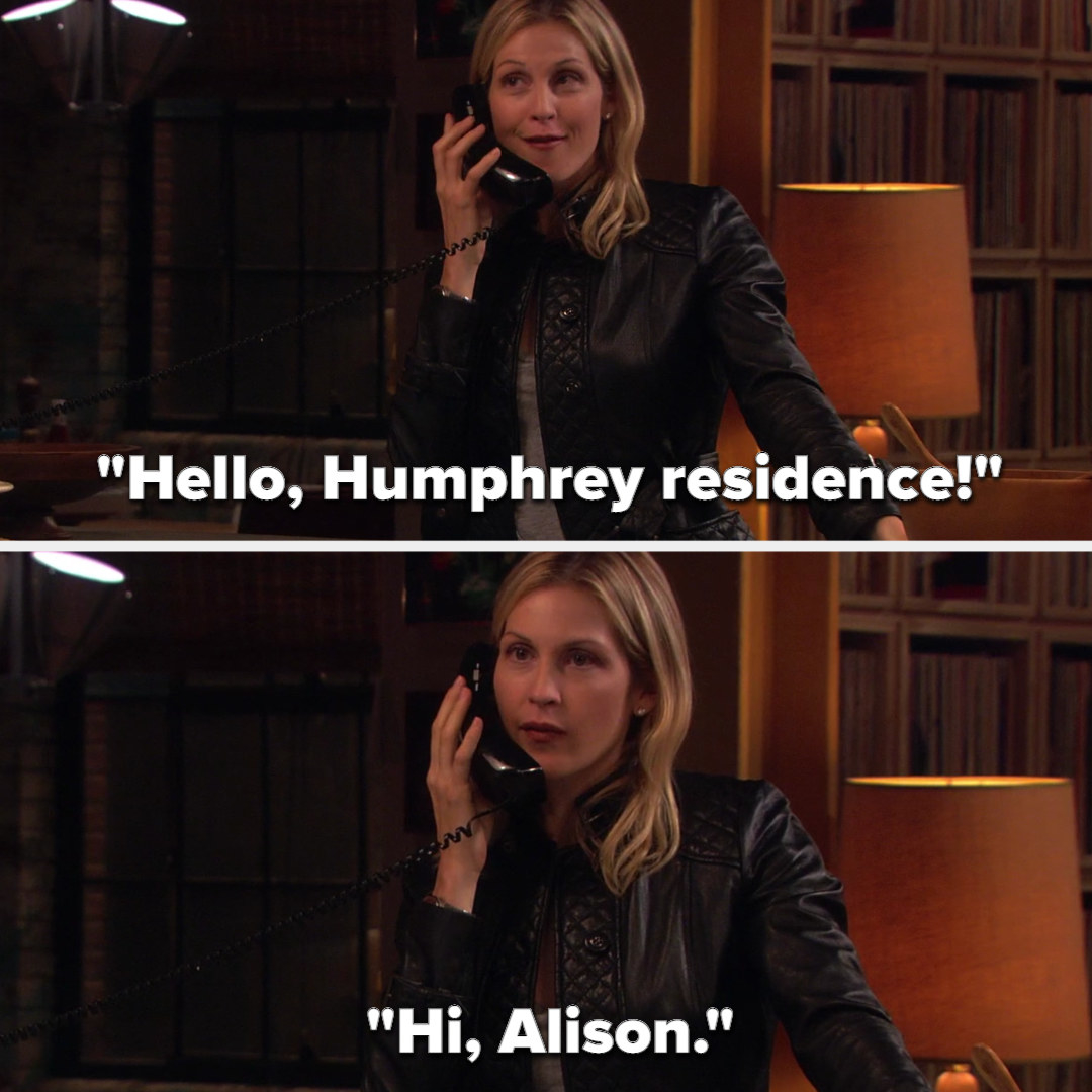"""Lily answering Rufus' phone on Gossip Girl with """"Humphrey residence"""" then realizing it's Alison"""