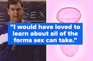 a side-by-side of the sex ed teacher from 'mean girls' and a condom over a pick background
