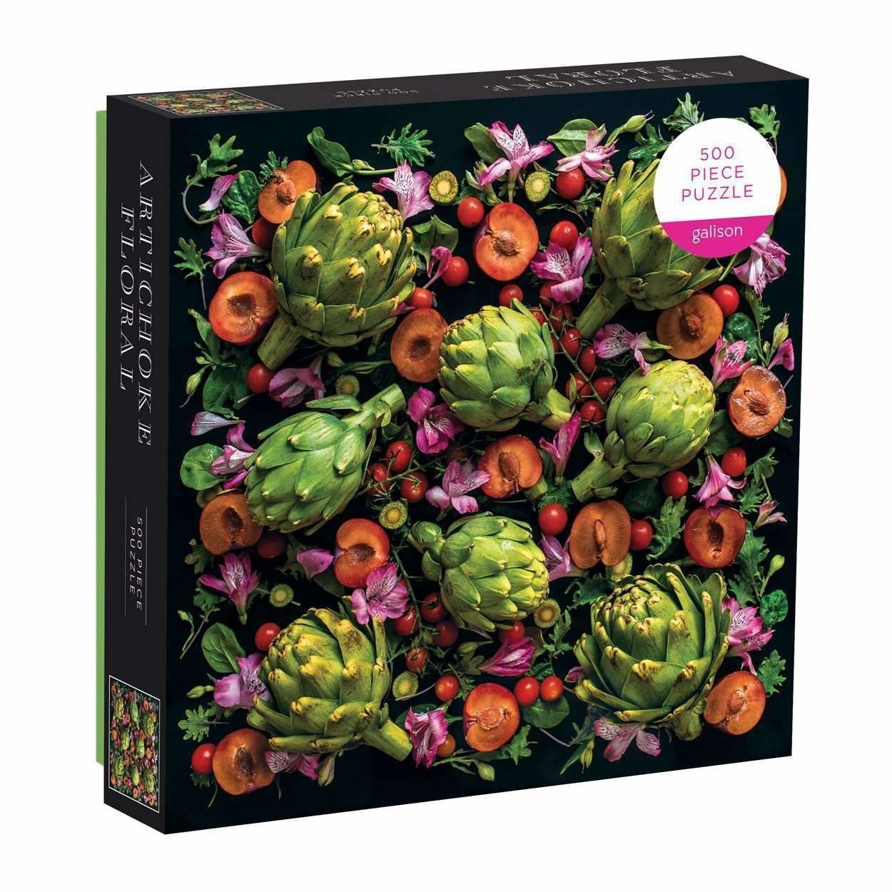 a puzzle of tomatoes, artichokes, and florals