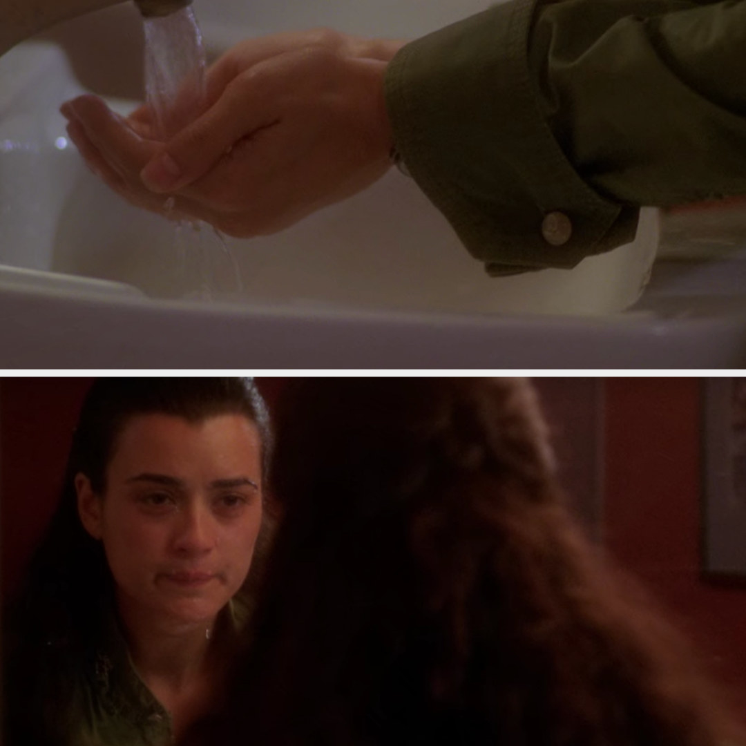 a crying character splashing water on their face on NCIS