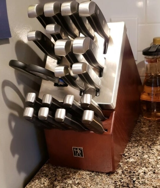 a reviewer photo of the knife block set
