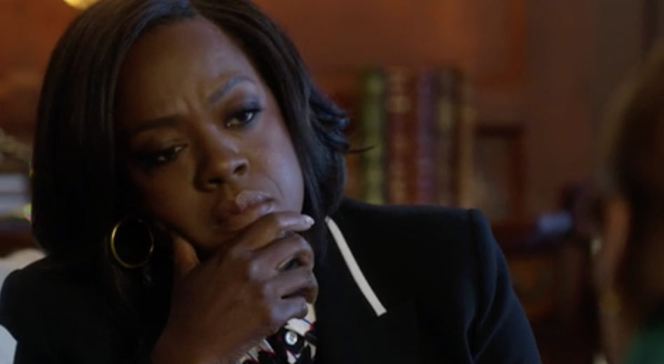 """Annalise Keating from """"How to Get Away with Murder"""" quizzically looking at someone in her office"""