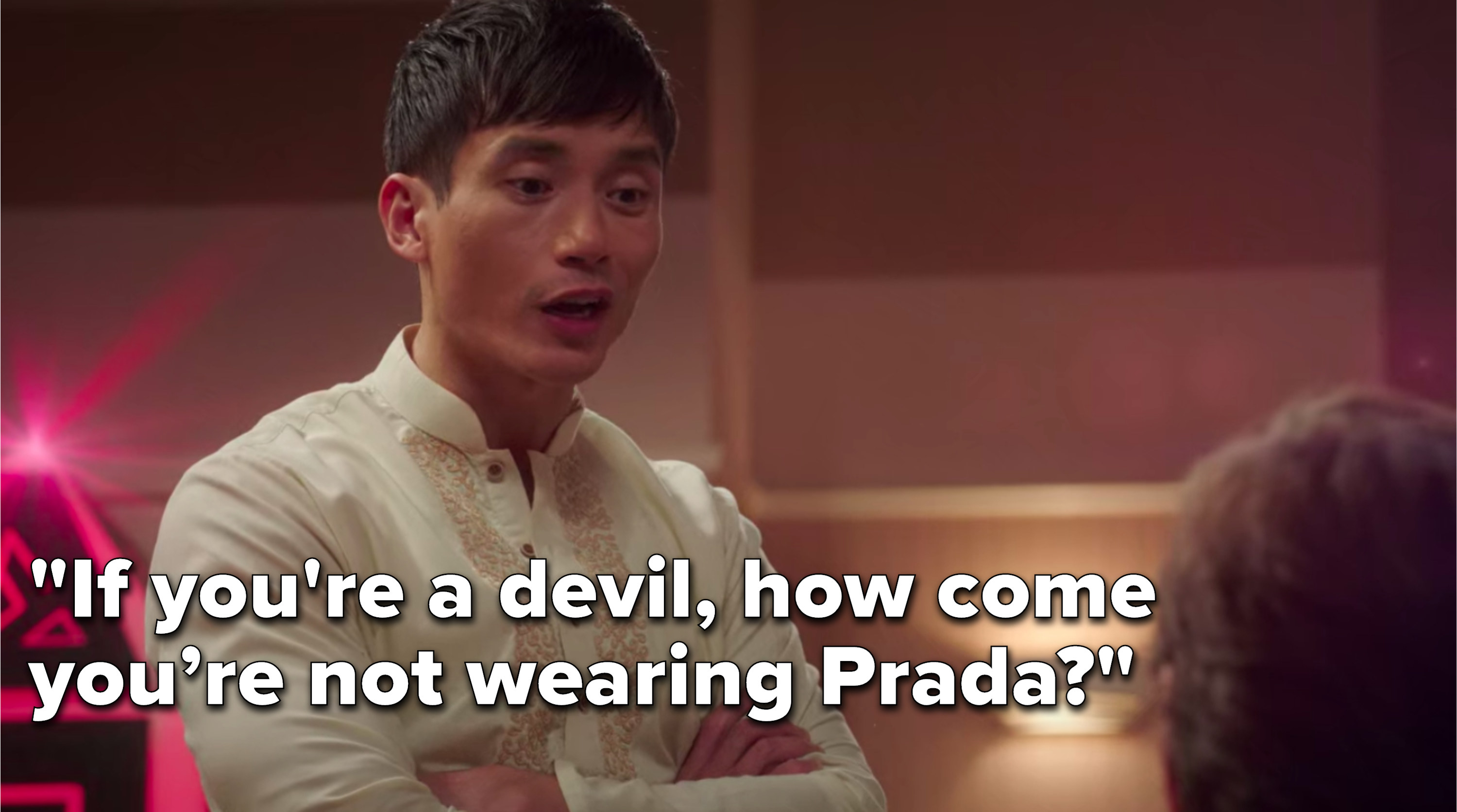 """Jason says, """"If you're a devil, how come you're not wearing Prada"""""""