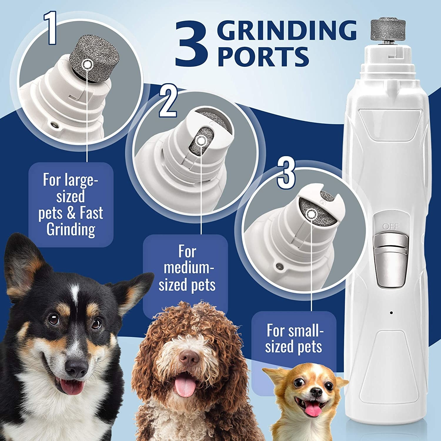 White wand-shaped nail grinder showing three different settings for different sized dogs and nails