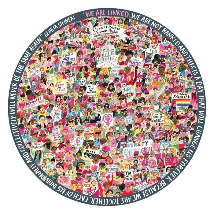 the circular puzzle that's a collage of women's day activists and signs