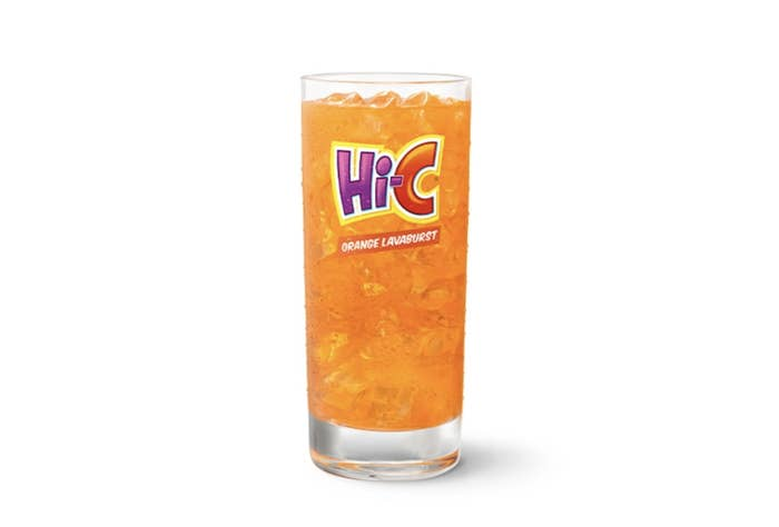 A glass filled with Hi-C Orange