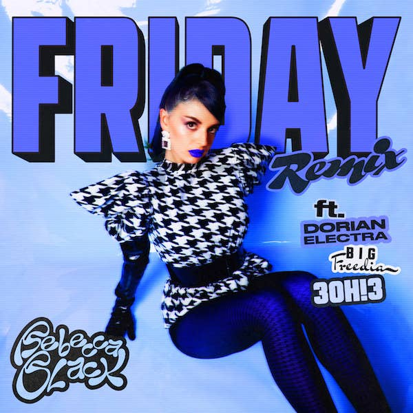 Promo art for the Friday remix with Rebecca dressed in a houndstooth print dress, belt, and blue lipstick