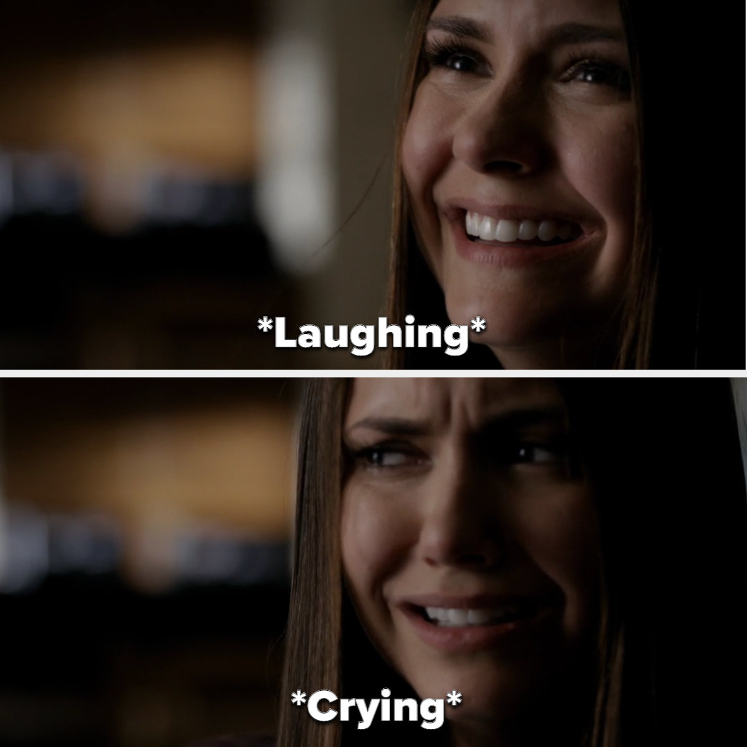 Elena's laughter turns to crying on The Vampire Diaries