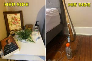 A clean bedside table, and a messy side with an empty Gatorade bottle and lube
