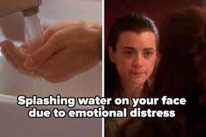 """""""Splashing water on your face due to emotional distress"""" with a picture of a girl from NCIS doing just that while crying"""