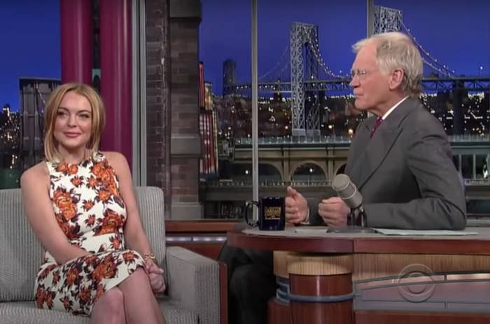 Still of Lindsay Lohan being interviewed by David Letterman