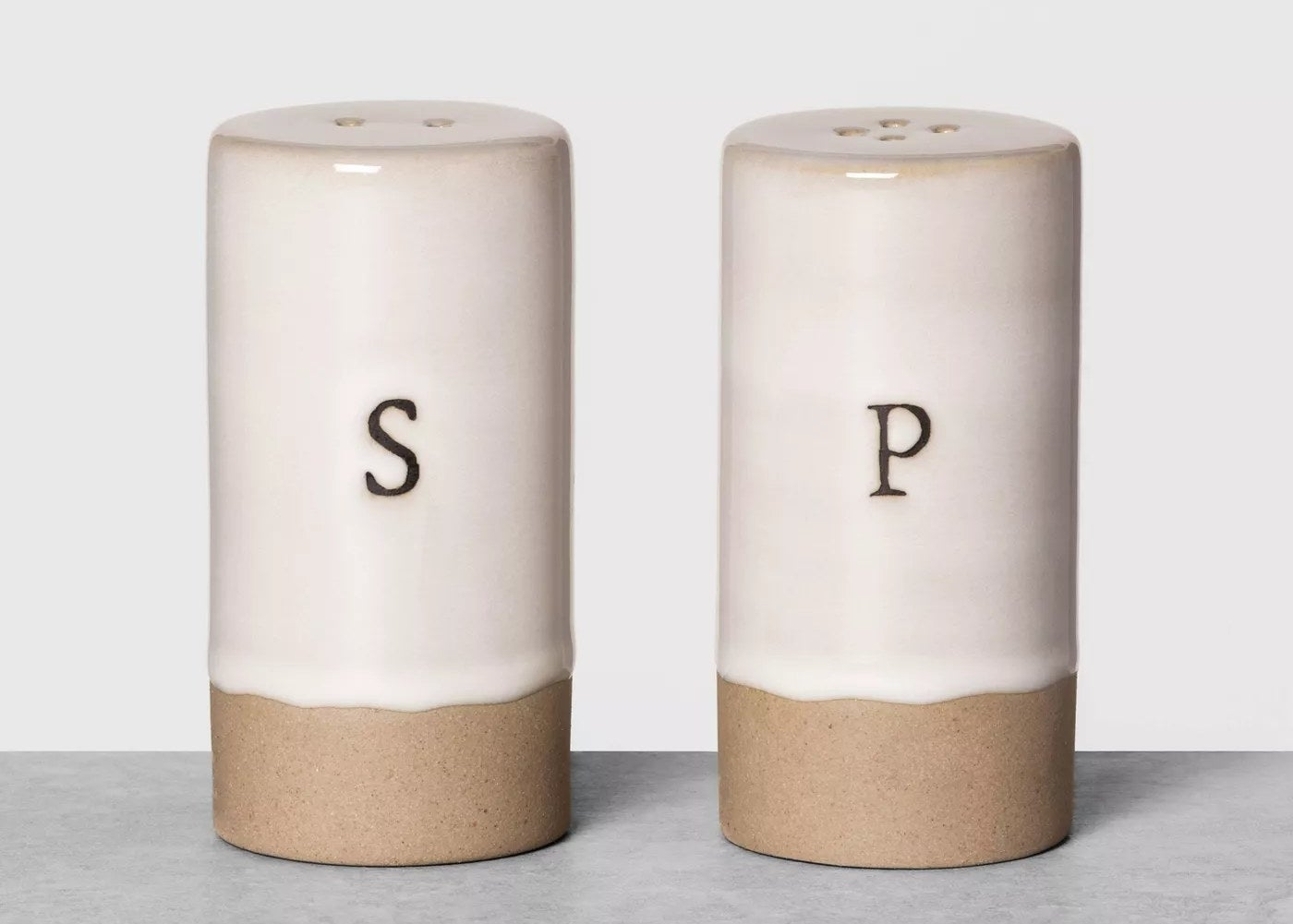 "the cream shakers with an ""s"" and ""p"" on them"