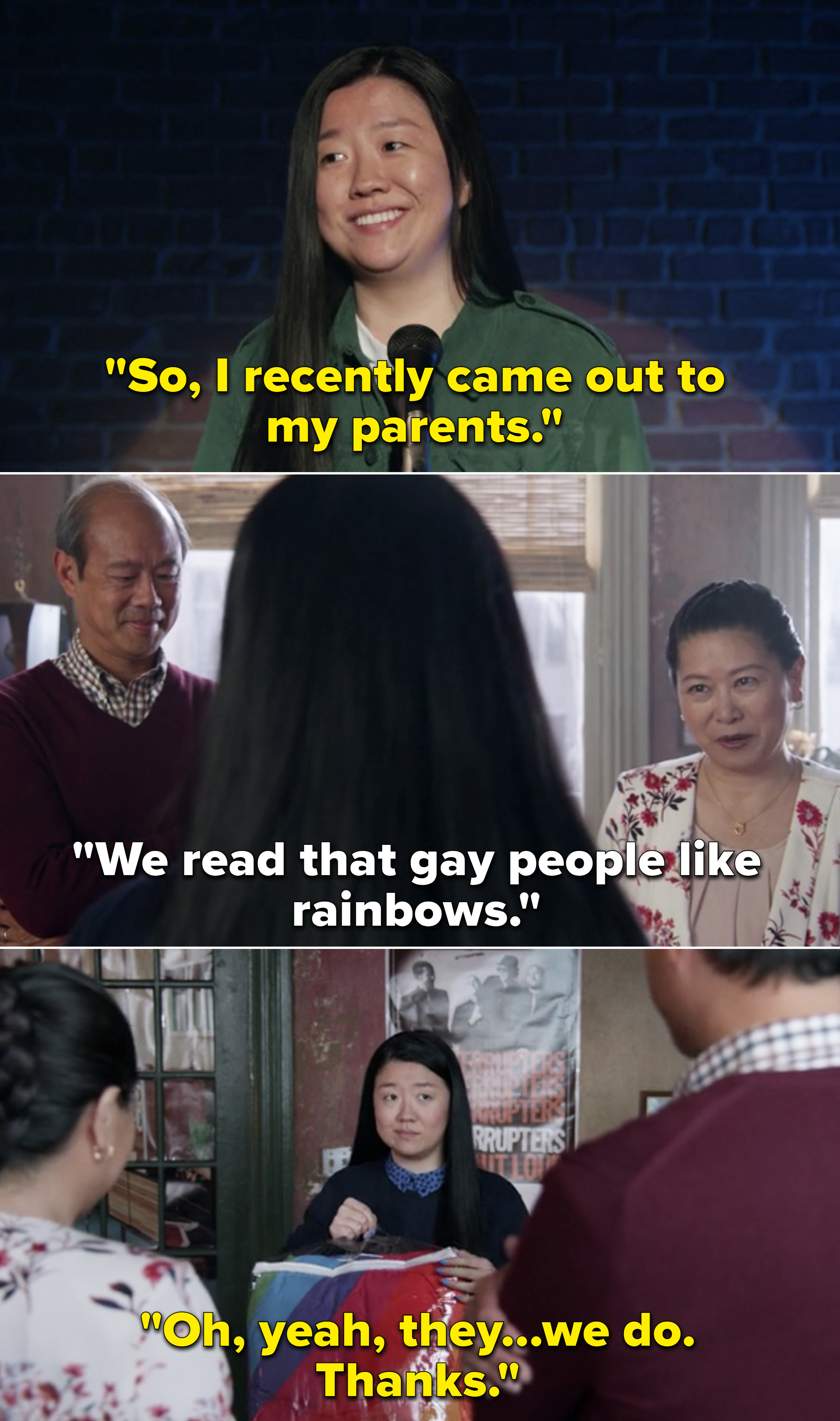 Alice talking about how she came out to her parents and then they bought her a rainbow blanket