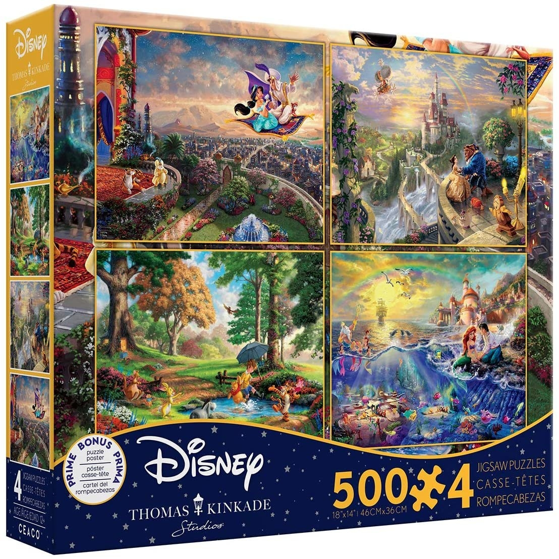 four puzzles depicting paintings of winnie the pooh, aladdin, the little mermaid, and beauty and the beast