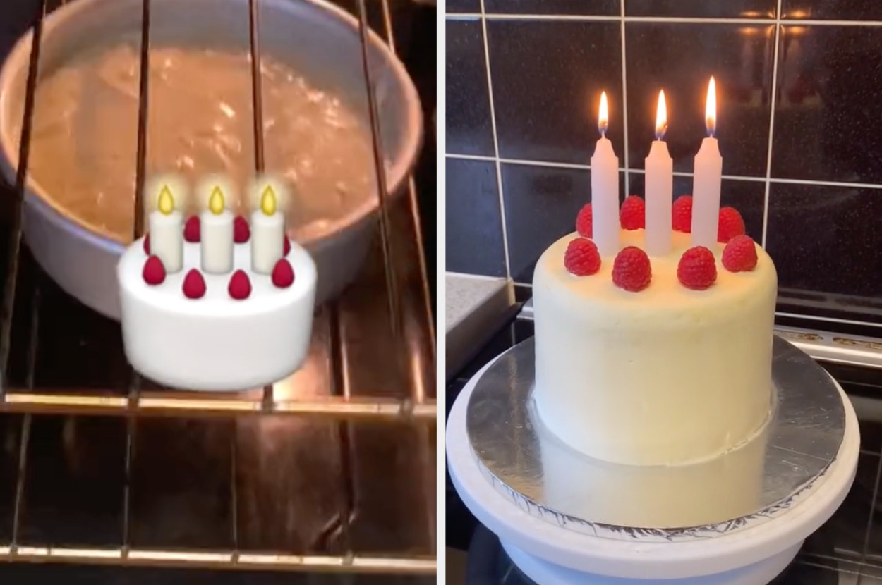 The birthday cake emoji next to it in real life with giant candles