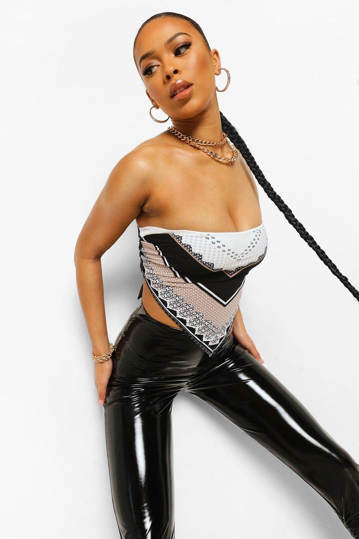 Model wearing satin scarf tube top