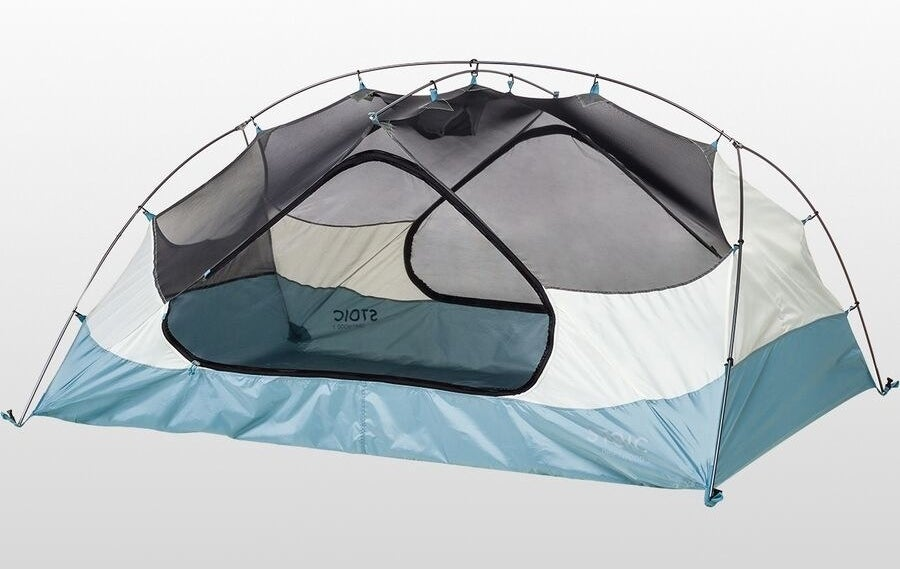 the blue and gray tent