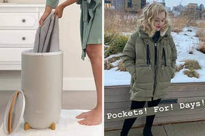 A model pulling a towel from a towel warmer; a BuzzFeeder wearing the Orolay coat