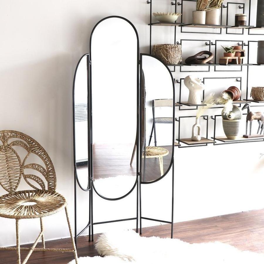 three-panel art deco standing mirror