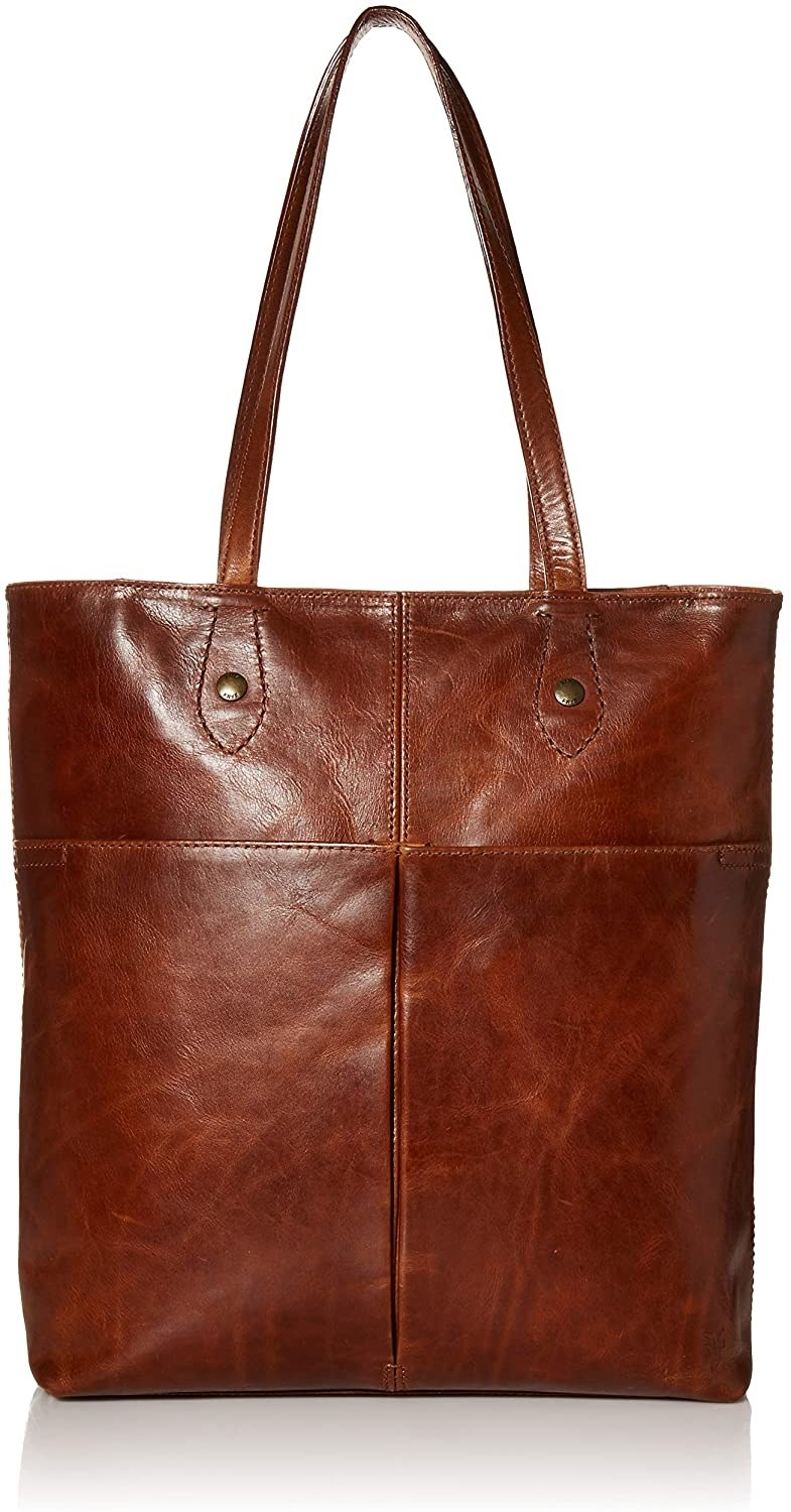the leather tote in cognac