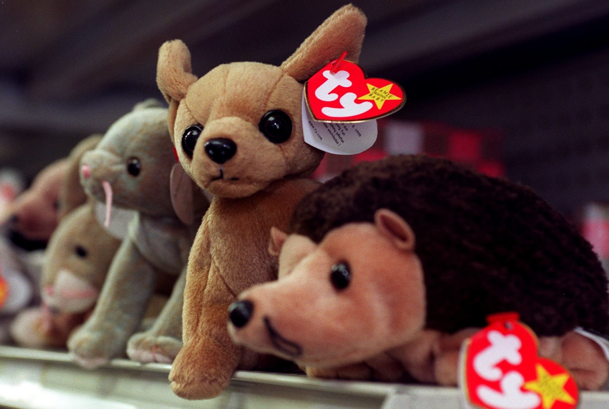 A collection of Beanie Babies on a store shelf