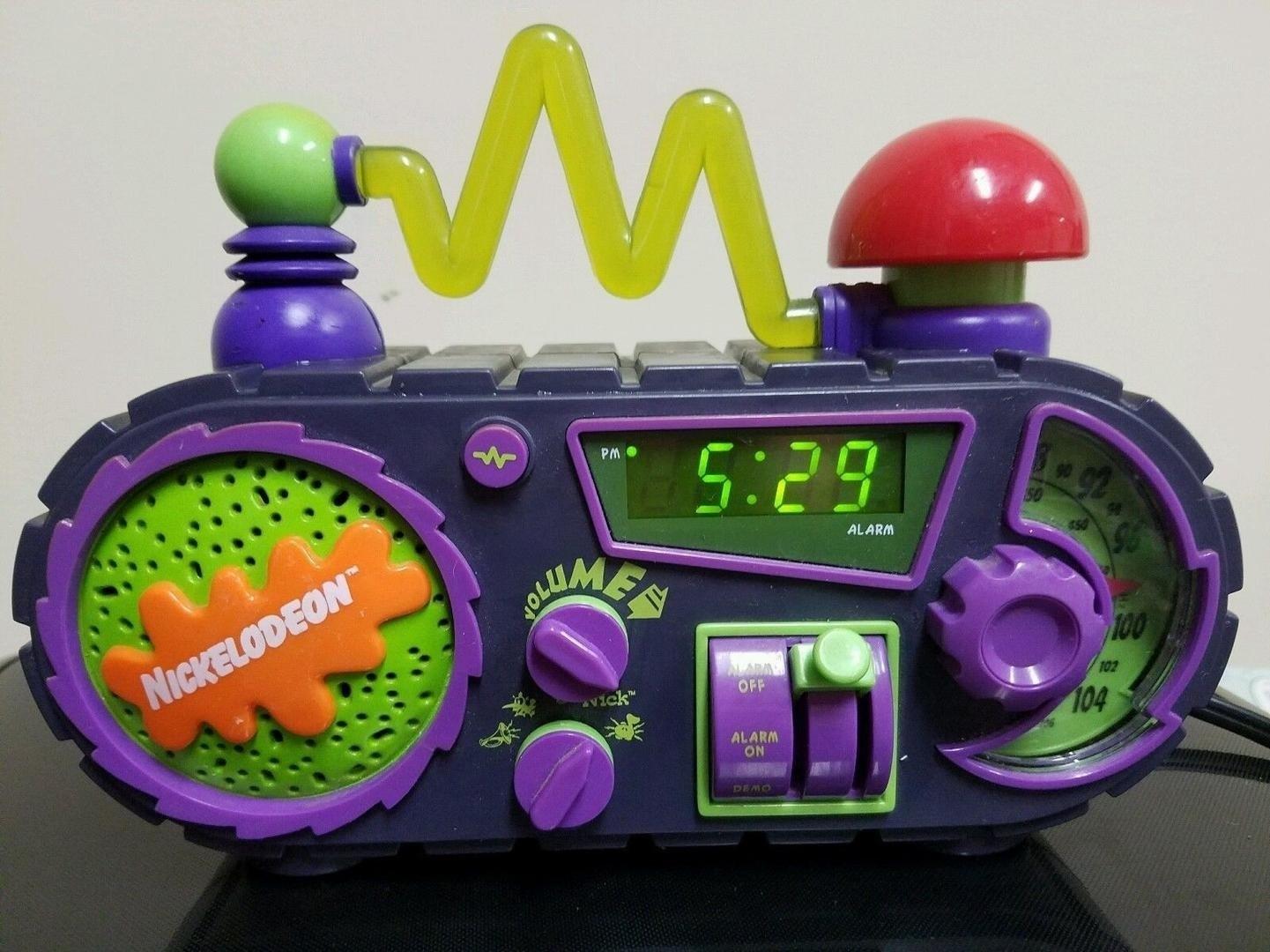 A purple and black mad scientist looking alarm clock