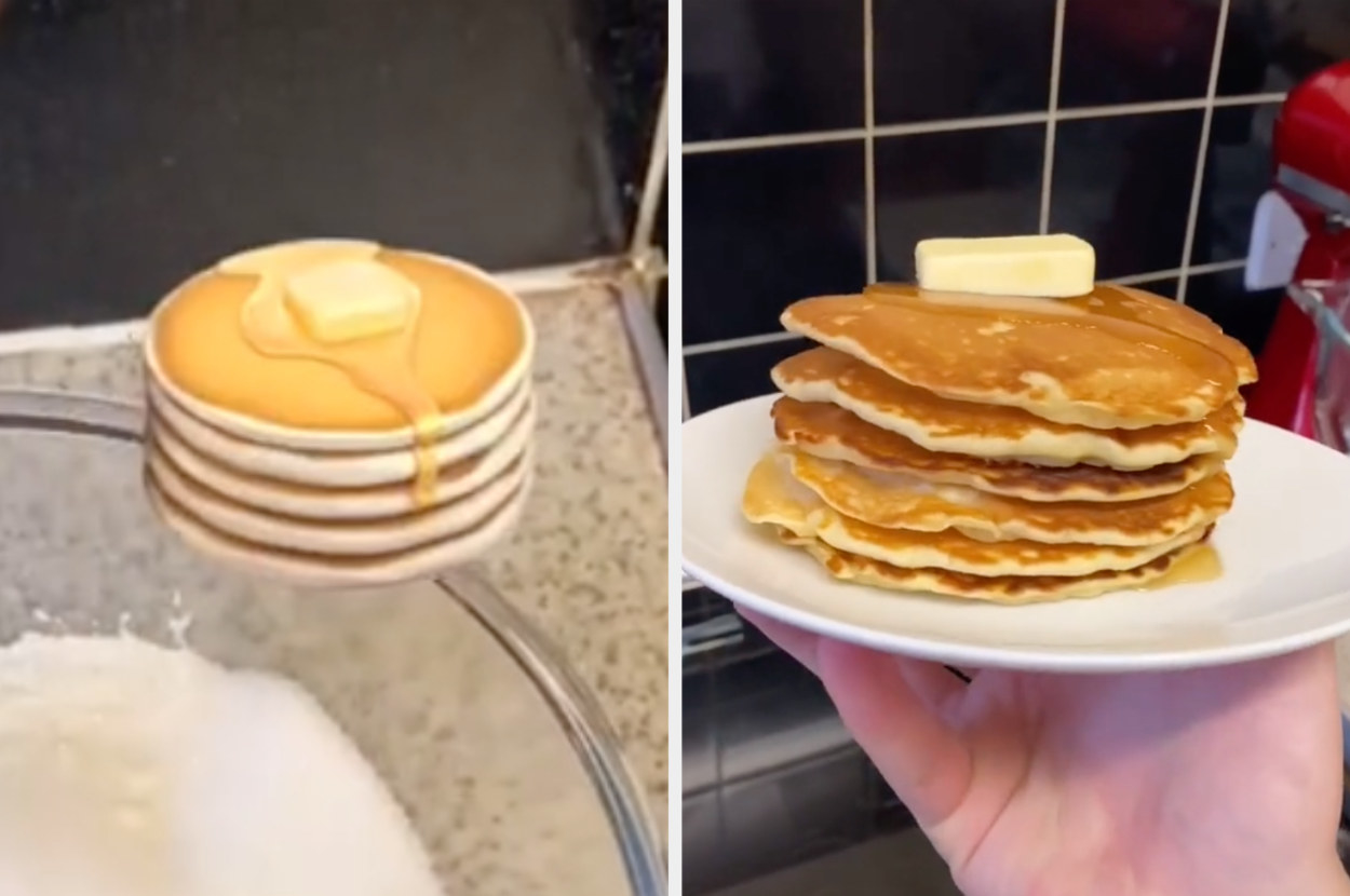 The pancake emoji next to a real stack of pancakes that even has an identical block of butter on top